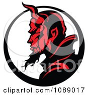Clipart Profilked Devil Face Mascot And Circle Royalty Free Vector Illustration by Chromaco