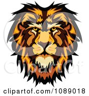 Clipart Male Lion Mascot Face Royalty Free Vector Illustration