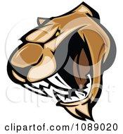 Clipart Aggressive Cougar Mascot Face Royalty Free Vector Illustration