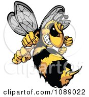 Clipart Stinging Hornet Mascot Royalty Free Vector Illustration by Chromaco