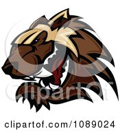 Clipart Aggressive Wolverine Mascot Royalty Free Vector Illustration