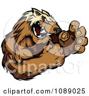 Clipart Wolverine Mascot Fighting Royalty Free Vector Illustration