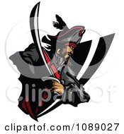 Clipart Pirate And Sword Badge Royalty Free Vector Illustration