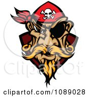 Clipart Pirate Face With A Bandana And Eye Patch Royalty Free Vector Illustration