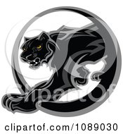 Clipart Black Panther Mascot Walking Through A Circle Royalty Free Vector Illustration