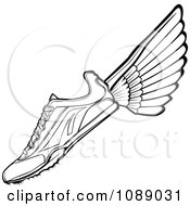 Clipart Black And White Winged Track Shoe Royalty Free Vector Illustration