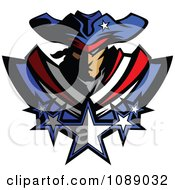 Clipart Battle Patriot Mascot With Stars Royalty Free Vector Illustration
