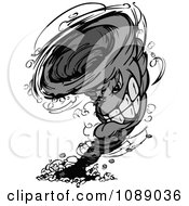 Clipart Grayscale Twister Tornado Mascot Royalty Free Vector Illustration