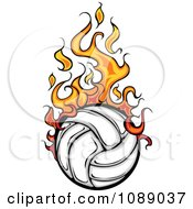 Clipart Fiery Volleyball Royalty Free Vector Illustration by Chromaco