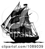 Clipart Dark Mysterious Pirate Ship Royalty Free Vector Illustration