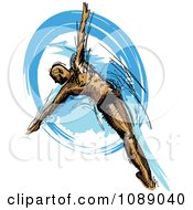 Clipart Male Swimmer Diving Into Blue Water Royalty Free Vector Illustration