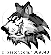 Clipart Aggressive Husky Dog Mascot Royalty Free Vector Illustration