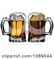 Frothy Mugs Of Beer And Cola Soda