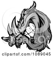 Clipart Aggressive Grayscale Razorback Boar Mascot Royalty Free Vector Illustration