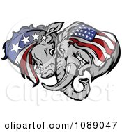Clipart Republican And Democratic Donkey And Elephant Butting Heads Royalty Free Vector Illustration