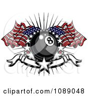 Clipart Patriotic Eight Ball With Stars A Banner And American Flags Royalty Free Vector Illustration by Chromaco
