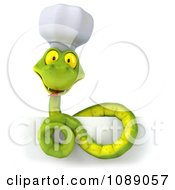 Clipart 3d Chef Snake Coiled On A Sign Royalty Free CGI Illustration