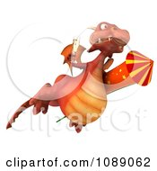 Clipart 3d Red Dragon Flying With Champagne And A Rocket Royalty Free CGI Illustration