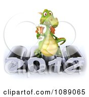 Clipart 3d 2012 New Year Party Green Dragon With Champagne 1 Royalty Free CGI Illustration
