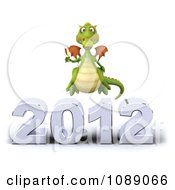 Clipart 3d 2012 New Year Party Green Dragon With Champagne 2 Royalty Free CGI Illustration