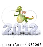 Clipart 3d 2012 New Year Party Green Dragon With Champagne 3 Royalty Free CGI Illustration