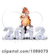 Clipart 3d 2012 New Year Party Red Dragon With Champagne 3 Royalty Free CGI Illustration