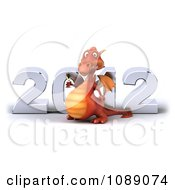 Clipart 3d 2012 New Year Party Red Dragon With Champagne 2 Royalty Free CGI Illustration