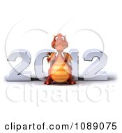 Clipart 3d 2012 New Year Party Red Dragon With Champagne 1 Royalty Free CGI Illustration