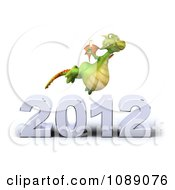 Clipart 3d 2012 New Year Party Green Dragon With Champagne 4 Royalty Free CGI Illustration