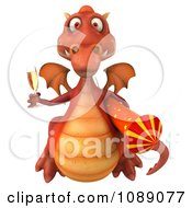 Clipart 3d Red Dragon Holding Champagne And A Rocket 6 Royalty Free CGI Illustration