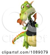 Clipart 3d Green Business Dragon Holding A Sign 2 Royalty Free CGI Illustration