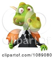 Clipart 3d Green Business Dragon Holding A Sign And A Thumb Up Royalty Free CGI Illustration