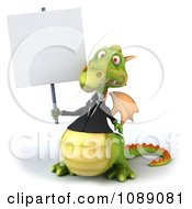 Clipart 3d Green Business Dragon Holding A Sign 1 Royalty Free CGI Illustration