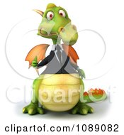 Clipart 3d Green Business Dragon Holding A Thumb Up 1 Royalty Free CGI Illustration by Julos