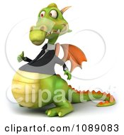 Clipart 3d Green Business Dragon Holding A Thumb Up 2 Royalty Free CGI Illustration