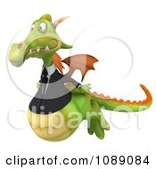 Clipart 3d Green Business Dragon Flying Royalty Free CGI Illustration