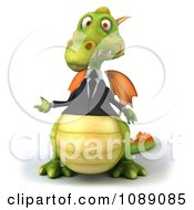 Clipart 3d Green Business Dragon Presenting Royalty Free CGI Illustration