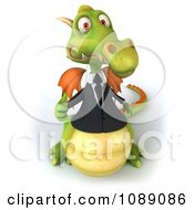 Clipart 3d Green Business Dragon Holding A Thumb Up 3 Royalty Free CGI Illustration