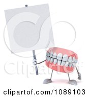 Clipart 3d Dentures Character With A Sign 4 Royalty Free CGI Illustration