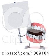Clipart 3d Dentures Character With A Sign 3 Royalty Free CGI Illustration