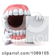 Clipart 3d Dentures Character With A Sign 2 Royalty Free CGI Illustration