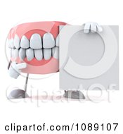 Clipart 3d Dentures Character With A Sign 1 Royalty Free CGI Illustration by Julos #COLLC1089107-0108