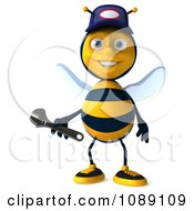 Clipart 3d Mechanic Bee Holding A Wrench 3 Royalty Free CGI Illustration by Julos