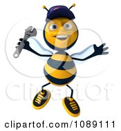 Clipart 3d Jumping Mechanic Bee Royalty Free CGI Illustration by Julos