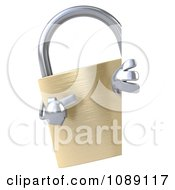 Clipart 3d Golden Padlock With A Sign 3 Royalty Free CGI Illustration by Julos