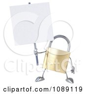 Clipart 3d Golden Padlock With A Sign 5 Royalty Free CGI Illustration
