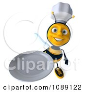 Clipart 3d Chef Bee Holding Up A Plate Royalty Free CGI Illustration