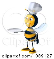 Clipart 3d Chef Bee Holding A Plate Royalty Free CGI Illustration