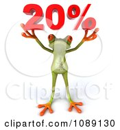 Clipart 3d Green Springer Frog Holding Up 20 Percent Royalty Free CGI Illustration