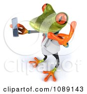 3d Doctor Springer Frog Holding A Cell Phone 3